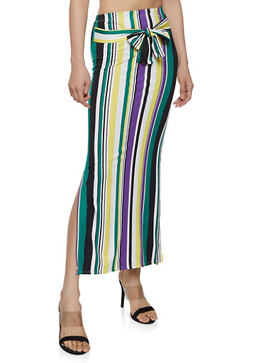 Striped Soft Knit Maxi Pencil Skirt,GREEN,large