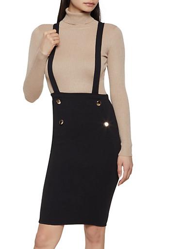 Sailor Crepe Knit Suspender Skirt,BLACK,large
