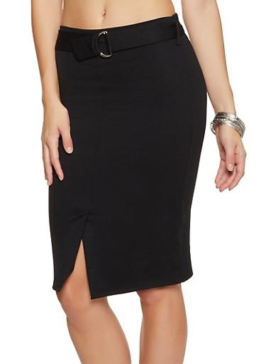 Belted Front Midi Pencil Skirt,BLACK,large