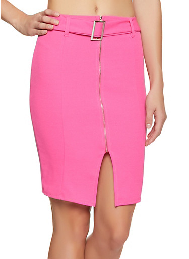 Belted Zip Front Pencil Skirt,PINK,large