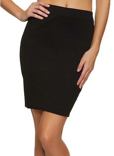 Ponte Solid Pencil Skirt,BLACK,large