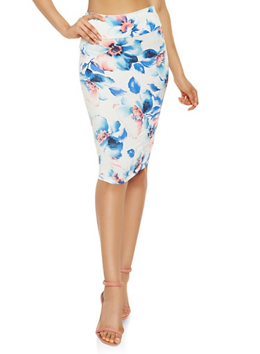 Floral Soft Knit Pencil Skirt,BABY BLUE,large