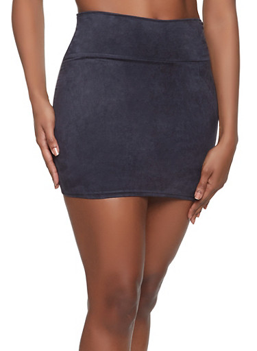 Faux Suede Mini Skirt,BLACK,large