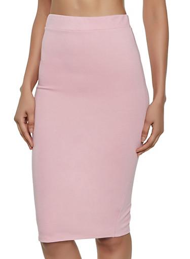 Ponte Back Slit Skirt,MAUVE,large