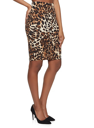 Leopard Print Pencil Skirt,BROWN,large
