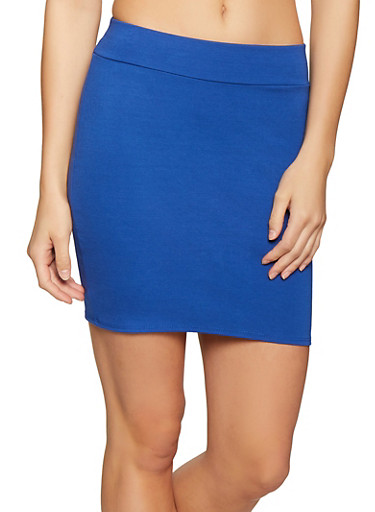 Solid Ponte Mini Skirt,RYL BLUE,large