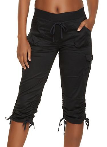Drawstring Capri Pants,BLACK,large