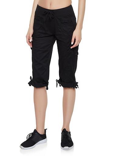 Tie Cuff Cargo Capris,BLACK,large