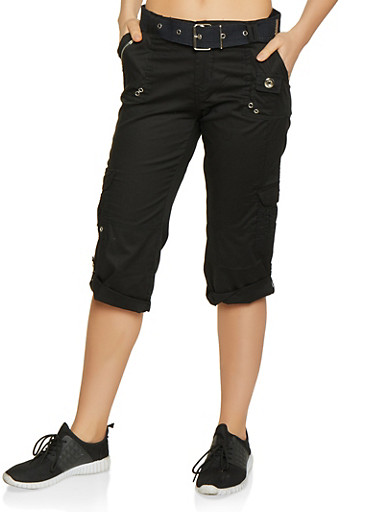 Tabbed Cuff Belted Cargo Capris,BLACK,large