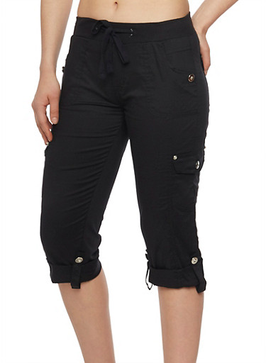 Tabbed Rolled Cuff Cargo Capri Pants with Drawstring Waist,BLACK,large