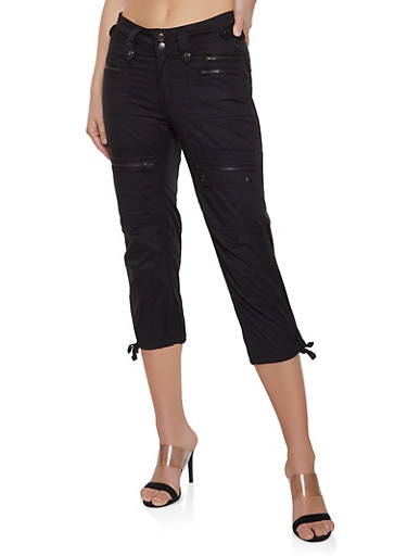 Zipper Capri Cargo Pants,BLACK,large