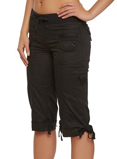 Cargo Capri Pants,BLACK,large