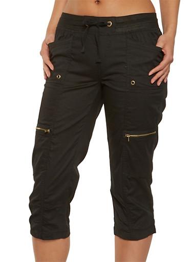 Ruched Cargo Capri Pants | Tuggl