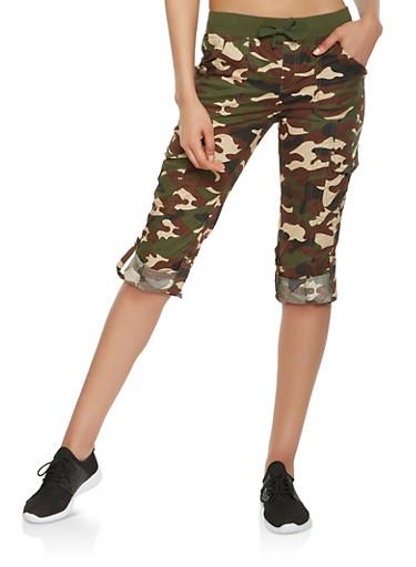 Camo Cargo Capri Pants,OLIVE,large