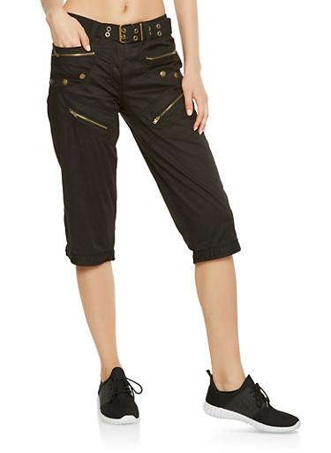 Belted Cargo Capri Pants,BLACK,large