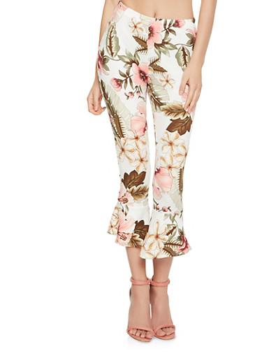 Cropped Floral Ruffle Hem Pants,IVORY,large