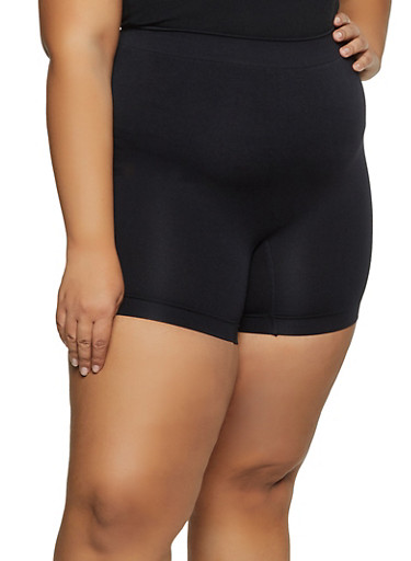 Plus Size Solid Bike Shorts | 1068035161495,BLACK,large