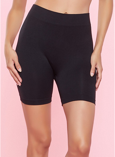 Solid Seamless Bike Shorts,BLACK,large