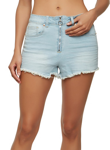 Almost Famous Ring Zip Denim Shorts,LIGHT WASH,large