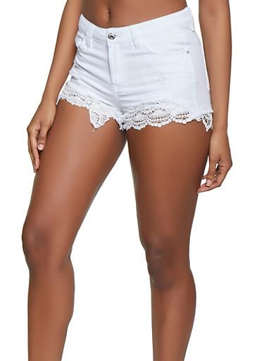 Almost Famous Crochet Trim Distressed Denim Shorts,WHITE,large