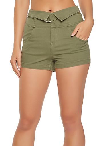 Fold Over Belted Shorts,OLIVE,large