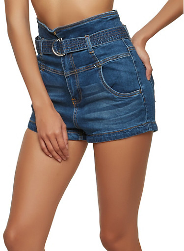 Almost Famous Belted High Waisted Shorts,DARK WASH,large