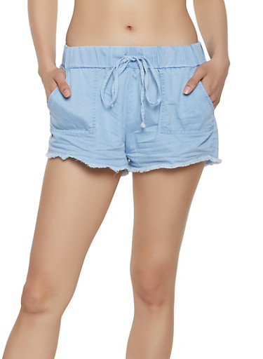 Almost Famous Frayed Hem Chambray Shorts,LIGHT WASH,large