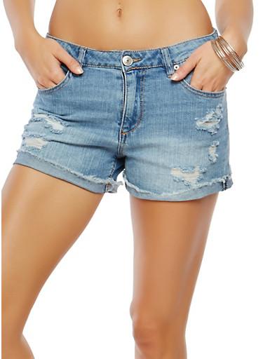 Almost Famous Distressed Denim Shorts,DARK WASH,large