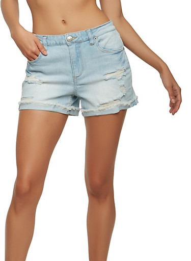 Almost Famous Distressed Roll Cuff Denim Shorts,LIGHT WASH,large