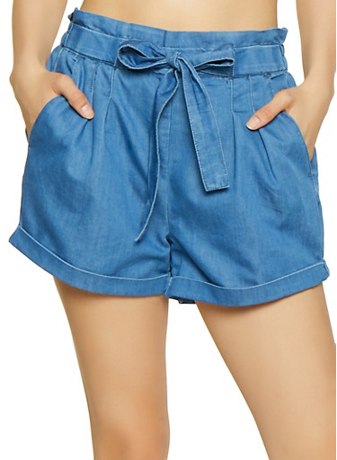 Almost Famous Chambray Paper Bag Shorts,MEDIUM WASH,large