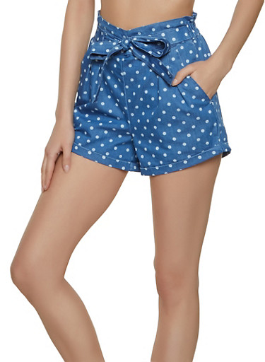 Almost Famous Polka Dot Chambray Paper Bag Shorts,BLUE,large