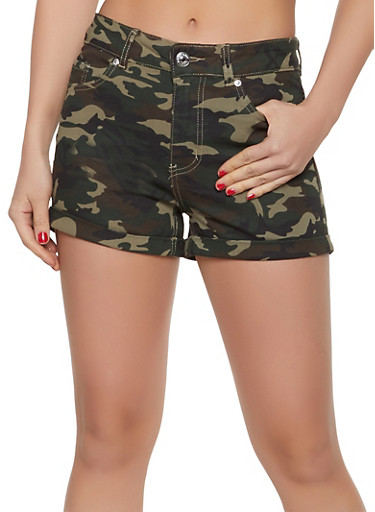 Almost Famous Camo Denim Shorts,OLIVE,large