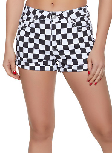 Almost Famous Checkered Denim Shorts,BLACK/WHITE,large