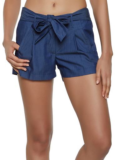 Chambray Tie Front Shorts,DARK WASH,large