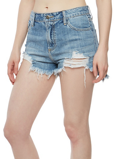 Cello Frayed High Low Denim Shorts at Rainbow Shops in Jacksonville, FL | Tuggl