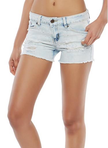 VIP Faux Pearl Distressed Denim Shorts,LIGHT WASH,large