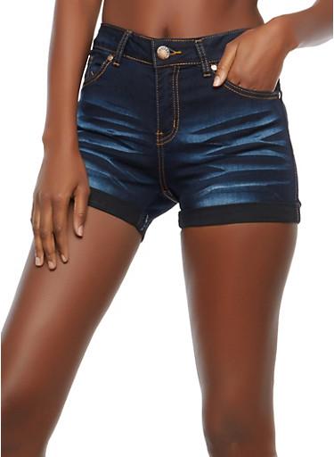 VIP Whisker Wash Denim Shorts,DARK WASH,large