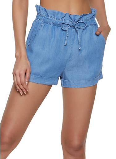 Chambray Paper Bag Waist Shorts | 1070069390450,MEDIUM WASH,large