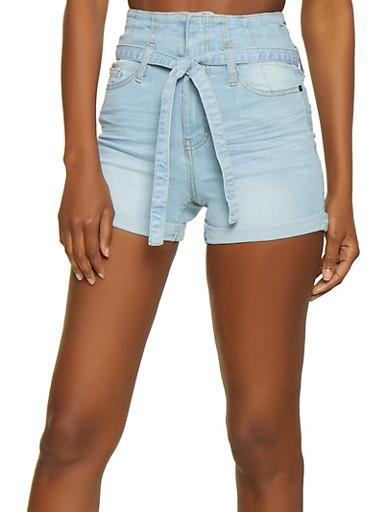 Highway High Waisted Denim Shorts,LIGHT WASH,large