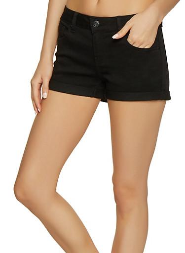 WAX Push Up Fixed Cuff Denim Shorts,BLACK,large