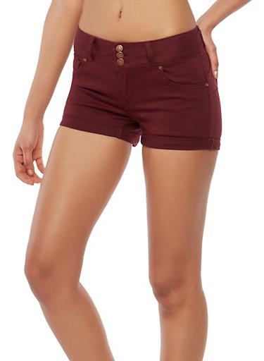 WAX 3 Button Burgundy Shorts,BURGUNDY,large