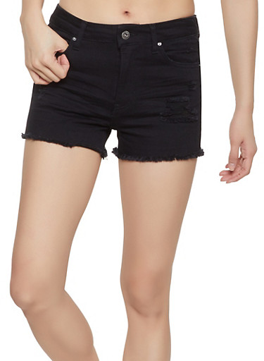 WAX Jean Shorts,BLACK,large