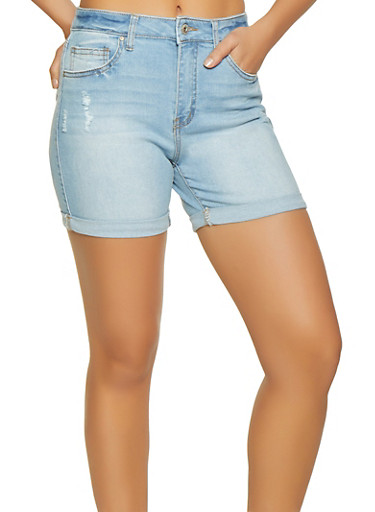 WAX Cuffed Denim Shorts,LIGHT WASH,large