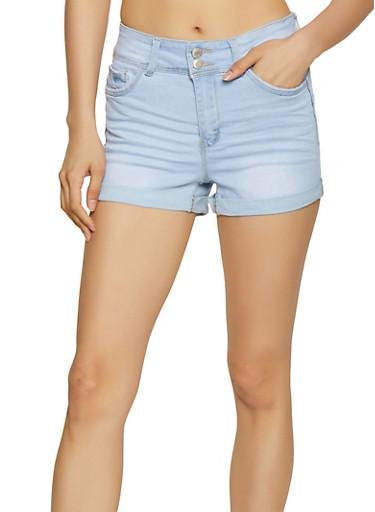 WAX 2 Button Fixed Cuff Denim Shorts,LIGHT WASH,large