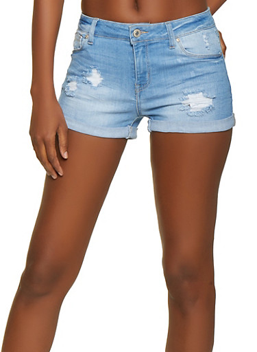 WAX Distressed Fixed Cuff Denim Shorts,LIGHT WASH,large