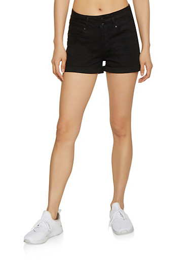 WAX 2 Button Jean Shorts,BLACK,large