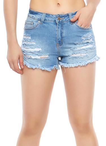 WAX Destroyed Denim Shorts,LIGHT WASH,large