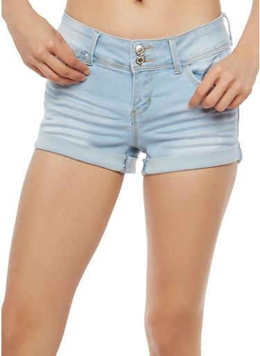 WAX Push Up Whisker Wash Jean Shorts,LIGHT WASH,large