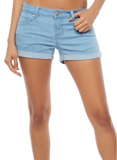 WAX Colored Push Up Denim Shorts,LIGHT WASH,large