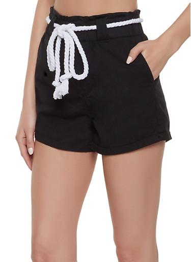 Rope Belt High Waisted Shorts,BLACK,large
